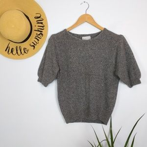 Vintage Silk Angora Rabbit Half Sleeve Sweater M